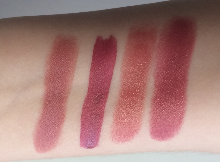 swatches Charlotte Tilbury Pillow Talk, YSL Rosewood Gang, Lise Watier Rachelle, Dior LA Pink